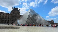 Louvre Museum - Pyramid - Musée du Louvre 2. Paris, France Stock Footage