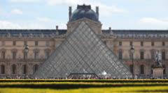 Louvre Museum - Pyramid - Musée du Louvre 1. Tilt Shift. Paris, France Stock Footage
