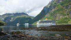 Cruise Ship Geirangerfjord 4K time lapse Stock Footage
