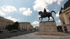 King Carol 1st of Romania Equestrian Statue in Bucharest Romania Stock Footage