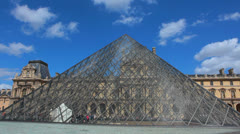 Louvre Museum - Pyramid - Musée du Louvre 4. Paris, France Stock Footage