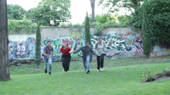 Group of friends having fun at the park exulting - jump - hug - run Stock Footage