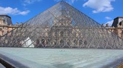 Louvre Museum - Pyramid - Musée du Louvre 5 Stock Footage