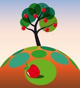 apple tree on grass - stock illustration