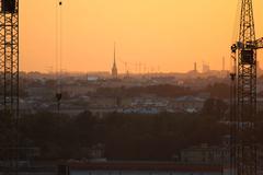 Evening of the urban landscape. Stock Photos