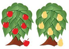 fruit tree stylized - stock illustration