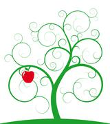 red apple and spiral tree - stock illustration