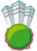 Skyscraper on green sphere Stock Illustration