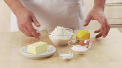 Ingredients for shortcrust pastry Stock Footage