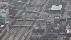 Cars Leaving, Drive, Commuters Driving Away, Aerial View Chicago Skyline, Street Stock Footage