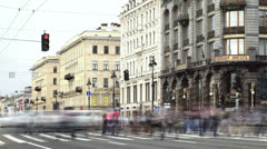 Time lapse of the pedestrian crossing on the Nevsky Avenue in Saint-Petersburg Stock Footage