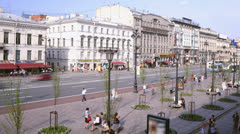 Stock Video Footage of Time lapse of the Nevsky Avenue in Saint-Petersburg
