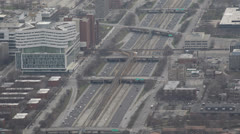 Aerial View Chicago Skyline Commuting, Commuters driving, Incoming, Outgoing Stock Footage