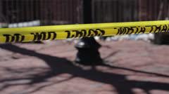 Boston police tape at crime scene Stock Footage