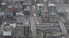 Aerial View Chicago Skyline Interstate 290, Circle Interchange, Above, Route - stock footage