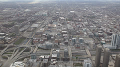 Aerial View Chicago Skyline Elevated Freeway, Highway Interchange, Vehicles Stock Footage
