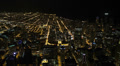 Aerial View Chicago Skyline Expressway, Beltway, City, Freeway Lanes, night HD Footage