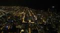 Aerial View Chicago Skyline Expressway, Beltway, City, Freeway Lanes, night Footage