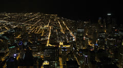 Aerial View Chicago Skyline Expressway, Beltway, City, Freeway Lanes, night Stock Footage