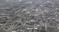 Aerial View Chicago Skyline Metropolitan Interstate, Overpass ramps, Streets Footage