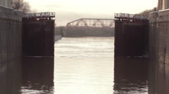 Opening gate in the lock. River Volga. Stock Footage