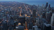 Stock Video Footage of Illuminated Landmark Buildings, Highrise, City Night Downtown Chicago Skyline