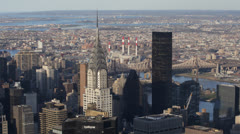 Aerial View of Trump Tower, Chrysler Building, NYC East River, Queensboro Bridge Stock Footage