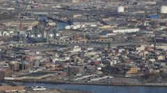 Queens Skyline, Newtown Creek, Long Island City Downtown, Pulaski Bridge, Ship - stock footage