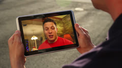 Video Chatting on Tablet PC - stock footage