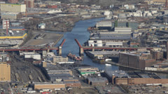 Cargo Container Ship Passing, Queens, Newtown Creek, Long Island, Pulaski Bridge Stock Footage
