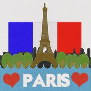 Eiffel tower, paris. france in stitch style on fabric background Stock Illustration