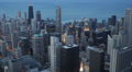 Downtown Chicago Skyline, Lake Michigan Shoreline Aerial view City Panorama Dusk Footage
