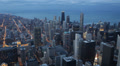 Downtown Chicago Skyline, Aerial view Corporation Towers, Future Buildings Dusk HD Footage