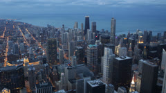 Downtown Chicago Skyline, Aerial view Corporation Towers, Future Buildings Dusk - stock footage