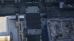 People Commuting to Work Morning NYC, Aerial View Crosswalk, New York City Stock Footage
