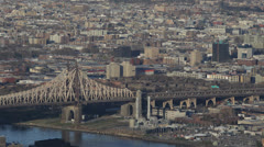 Aerial View of Queensboro Bridge, East River, Queens in New York City, NYC, USA Stock Footage