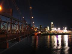 Sunset time lapse Cincinnati skyline and the bridge Stock Footage
