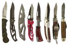Pocket Knives Isolated on White - stock photo