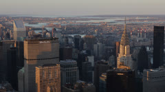 Aerial View New York City Skyline sunset Chrysler Building Citigroup Trump Tower Stock Footage