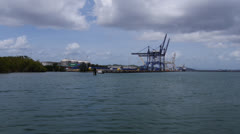 commercial container port docks - stock footage