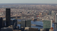 Aerial View United Nations Building Trump World Tower East River Queensboro NYC Stock Footage