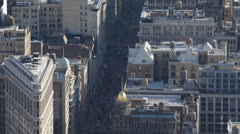 Aerial View Flatiron Building New York Water Tower Houses Roof Fifth Avenue Cars Stock Footage