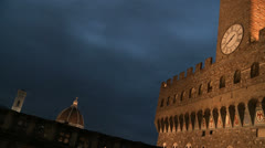 Palazzo Vecchio in Florence by night Stock Footage