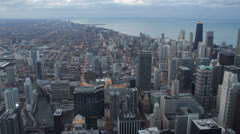 Aerial view Downtown Chicago Skyline, Urban panoramic View, Horizon Skyward Stock Footage