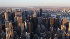 New York City Skyline sunset, Chrysler Citigroup UN Plaza Trump, USA Aerial View Stock Footage