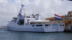 Port side view of warship patrol boat holland p840 Stock Footage