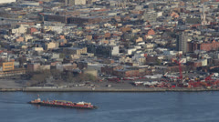 Black Helicopter, Cargo Container Ship Passing, Queens Skyline, East River, NYC Stock Footage