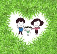 isolated green heart grass photo frame with     family - stock photo