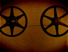 Film reels 4K historic cutaway transition reel to retro lake animated background Stock Footage