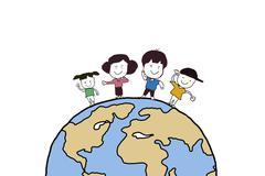 cartoon kids holding hands around a globe - stock photo